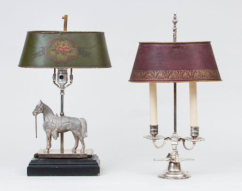 Silver Bouillotte Lamp and a Silver Horse-Form Lamp