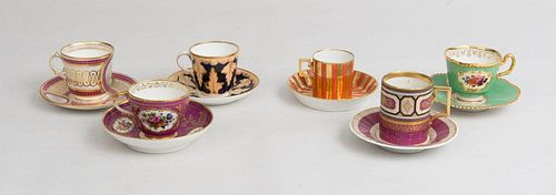 Six French, English, and Vienna Porcelain Teacups and Saucers