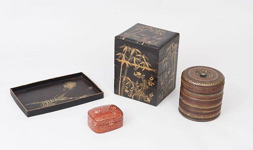 Asian Lacquer Stacking Box, a Thai Lacquer Cylindrical Stacking Box, an Indian Papier Mache Box, and a Lacquer Tray