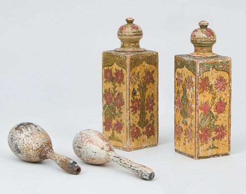 Pair of Painted Wood Bottle-Form Table Articles, Pair of Wood Sock Darners, a Miniature Mahogany Longcase Clock, and a Hand-P