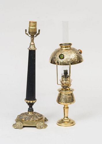 Empire Style Candlestick, Mounted as a Lamp, and a French Brass Lamp