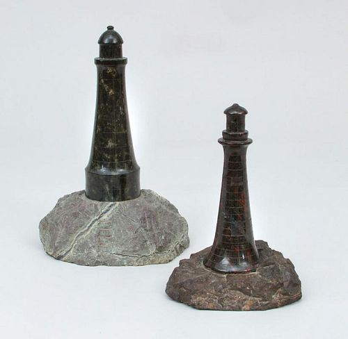 Two Marble Lighthouses on Stone Bases