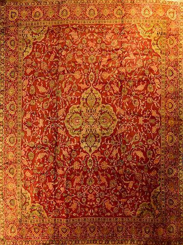 Spanish Claret-Ground Medallion Carpet