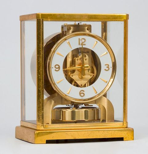 Le Coultre Atmospheric Clock and a Small Gilt-Metal Carriage Clock