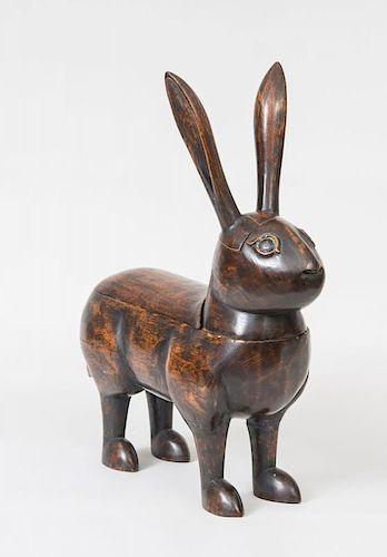 Carved Wood Five-Part Rabbit Figure