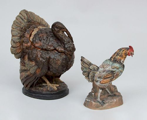 Ceramic Turkey-Form Box, a Ceramic Figure of a Rooster, and a Staffordshire Porcelain Hen-on-Nest