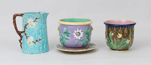 Two Majolica Porcelain Jardinières and a Turquoise Porcelain Pitcher