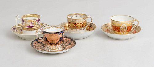 Four English Porcelain Teacups and Saucers