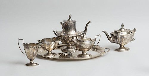 """Gorham Monogrammed Silver Five-Piece Tea and Coffee Service and Matching Tray, in the """"Plymouth"""" Pattern"""
