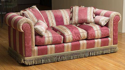 Striped Silk-Upholstered Sofa
