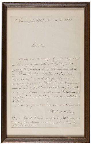 "Autograph Letter Signed, ""Robert Houdin,"" to a Book Dealer."