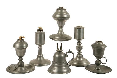 (6) PEWTER LAMPS