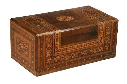 EARLY SPANISH MARQUETRY TRUNK
