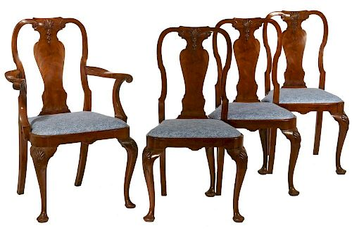 (SET OF 12) IRISH QUEEN ANNE STYLE DINING CHAIRS