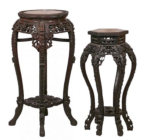 (2) CHINESE EXPORT CARVED TALL STANDS