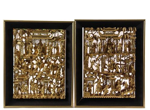 PAIR OF CHINESE ARCHITECTURAL PANELS