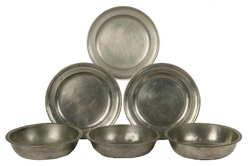 (6 PCS) EARLY AMERICAN PEWTER
