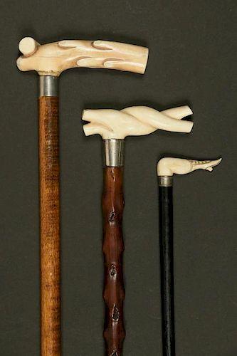 (3) WALRUS & WHALEBONE HANDLED CANES
