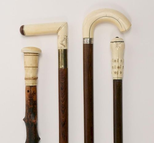 (4) 19TH C. WALKING STICKS