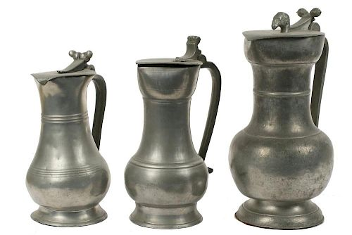 (3) EARLY PEWTER FLAGONS