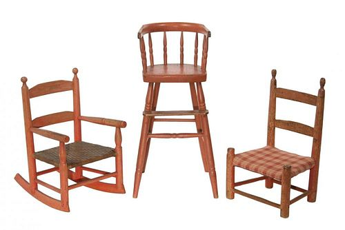 (3) DIFFERENT 19TH C. COUNTRY SHERATON CHILDREN'S CHAIRS