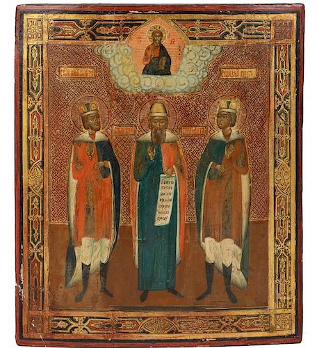 RUSSIAN ICON, THE THREE SELECTED SAINTS