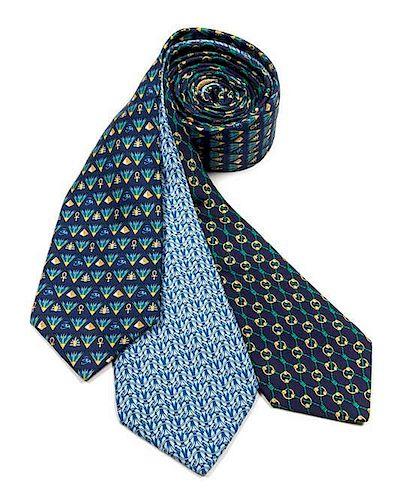 """A Group of Three Hermes Silk Ties, 3.15"""" wide."""