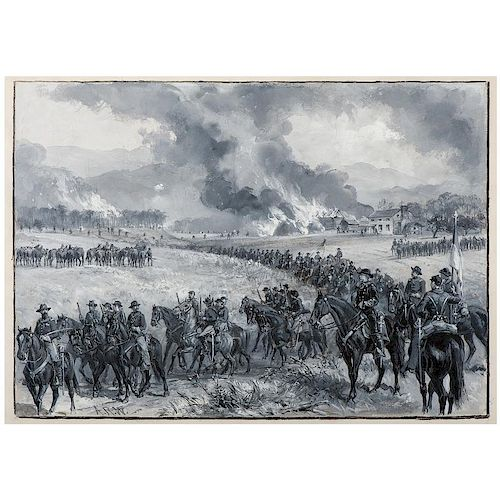 General Custer's Division Retiring from Mt. Jackson, Virginia, and Burning the Forage, October 1864, Watercolor and Gouache b
