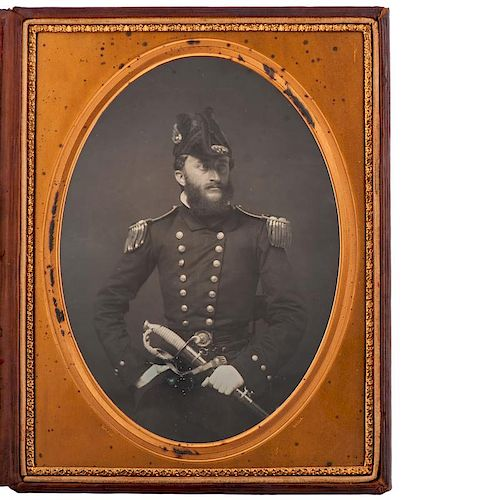 Whole Plate Daguerreotype of a Naval Officer by James Earle McClees, Philadelphia