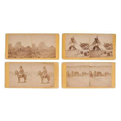 Alexander Gardner, Four Stereoviews from the 1868 Peace Commission at Fort Laramie, with Titles in Gardner's Hand