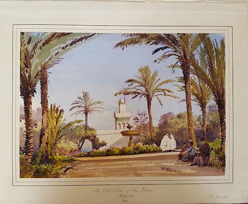Gabriele Carelli (Italian 1820-1900) Orientalist Algiers Painting