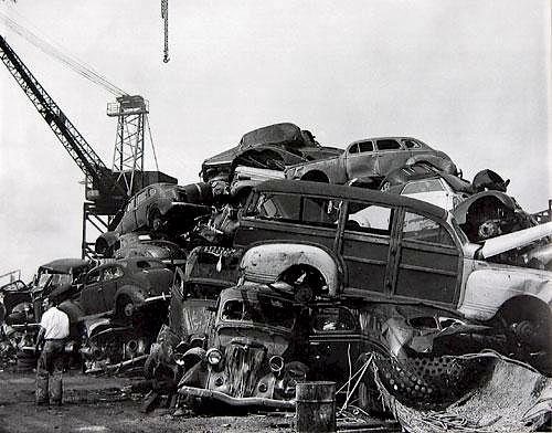 American Junkyard-1940's large b&w photograph, c. 1946