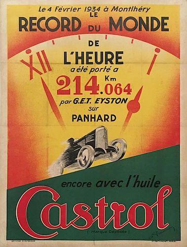 Castrol original advertising poster for 1936 world record