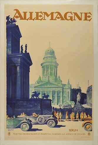 Allemagne (Germany) original advertising poster by Friedel Dzubas, 1930's