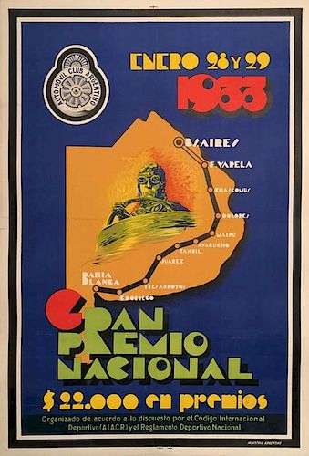 Gran Premio Nacional Argentina 1933 Endurance Motor race from Buenos Aires to Bahia Blanca original poster