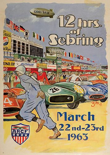 12 Hours of Sebring 1963 original official event poster by Zito, USA