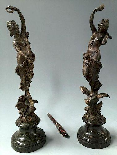 Industry & Wisdom' bronze sculptures by Paul Aichele, 1891