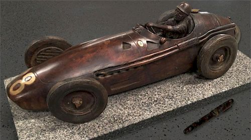 Stirling Moss Maserati 250F bronze sculpture by Gordon Chism, USA, 1993, signed