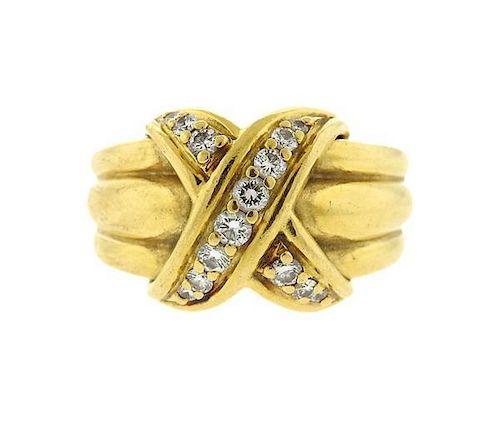 0863ebc40 Tiffany & Co 18k Gold Diamond X Crossover Ring. Lot 351. Prev Lot · Next  Lot · item Image