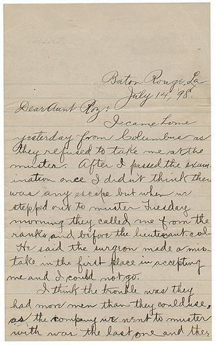 [Spanish-American War] Autographed Letter Signed by a War Recruit