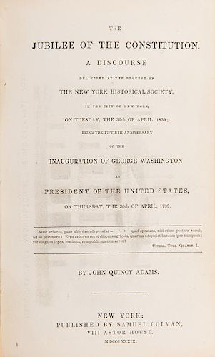 Adams, John Quincy. The Jubilee of the Constitution. Inscribed.