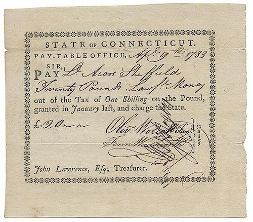 Wolcott, Oliver. Partially Printed Document Signed.