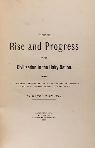 Ethell, Henry C. Rise and Progress of Civilization in Hairy Nations.