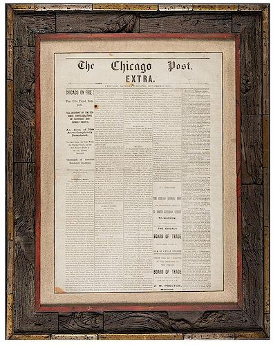 "[Great Chicago Fire] Chicago Post Extra. ""Chicago on Fire!"" October 9, 1871."