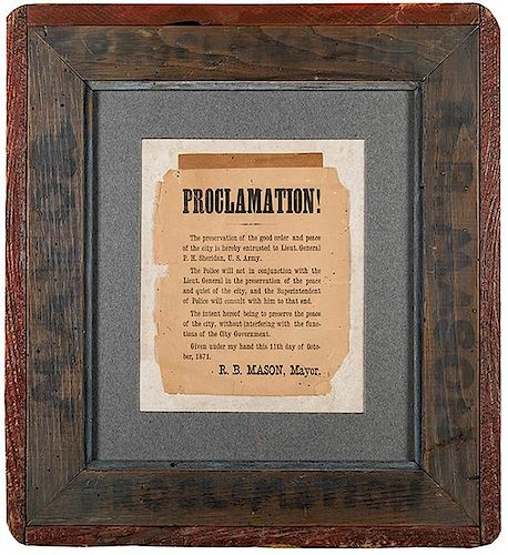 [Great Chicago Fire] Broadside Proclamation by Mayor Roswell B. Mason