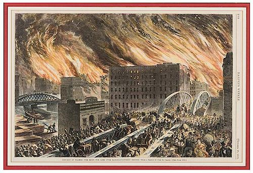 [Great Chicago Fire] A Group of Five Depictions of the Fire and Its Aftermath.