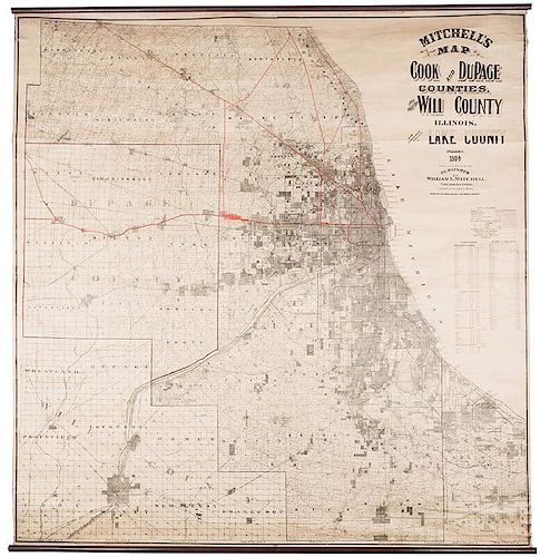 [Chicago. Wall Map] Mitchell, William. Mitchell's Map of Cook and Dupage…