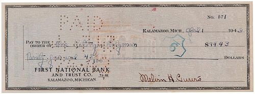 Purvis, Melvin. Signed personal check.