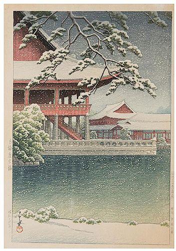 [Japan] Hasui Kawase. Three Woodblock Prints.
