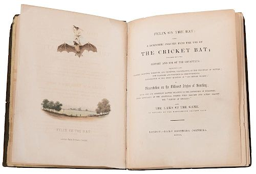 """[Sport. Cricket] (Wanostrocht, Nicholas """"Felix""""). Felix on the Bat."""